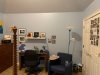 Bedroom walls after painting in 3 shades of gray-blue