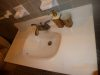 Cultured marble bathroom sink before finish