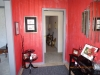 Foyer after/Red with Metallic Silver strie' and silver top border
